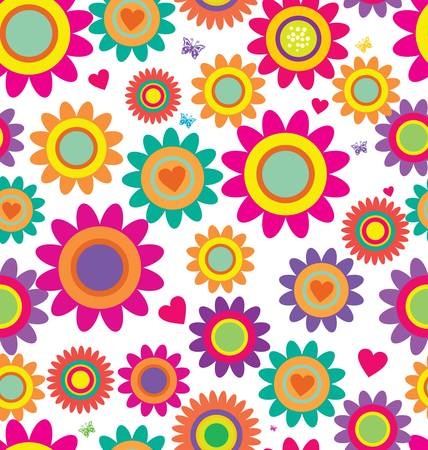 retro illustration: Cute floral seamless background Illustration