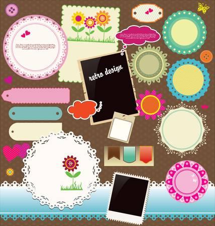 scrapbook cover: Elementos de dise�o del libro de recuerdos Vectores