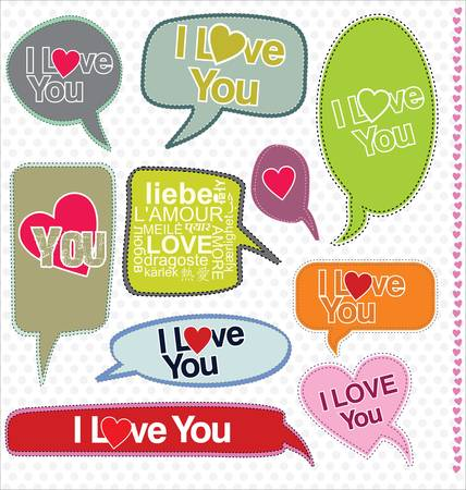 Speech bubbles retro design - I love you Vector
