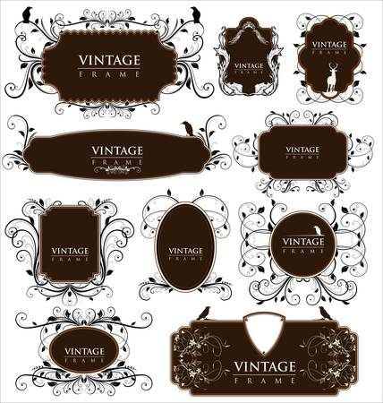 vintage frames with birds Vector