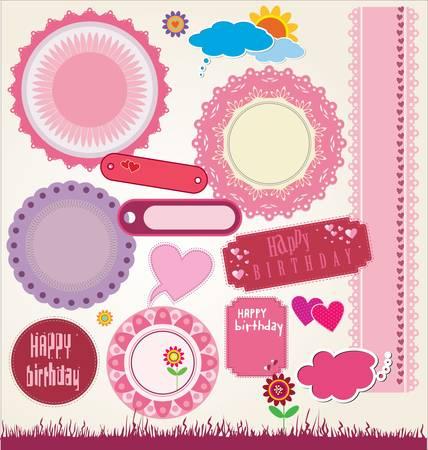 set of cute scrapbook elements  illustration Vector