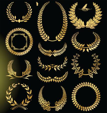 laurel leaf: Golden Laurel wreath - set