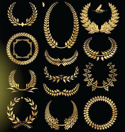 Golden Laurel wreath - set Stock Vector - 13207099