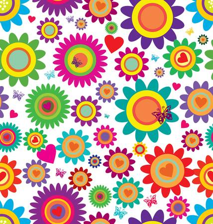 pastel colour: Spring flowers - seamless pattern