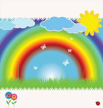 spring background with rainbow  illustration Vector