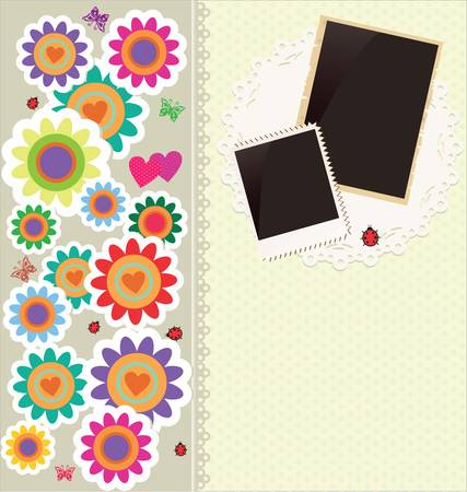 Abstract cute flower background with old photo frames Vector