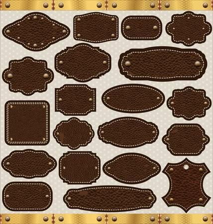 Etiquetas de cuero de época creado