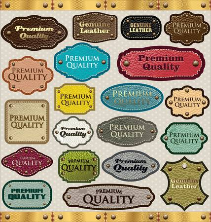 premium quality: Leather Premium Quality labels Illustration