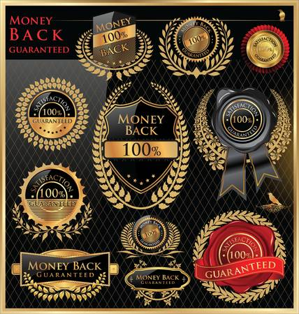 wax glossy: Money back satisfaction vector labels