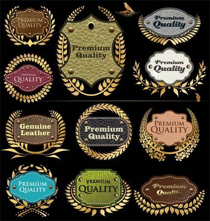 originales: Etiquetas de calidad premium de cuero Vectores