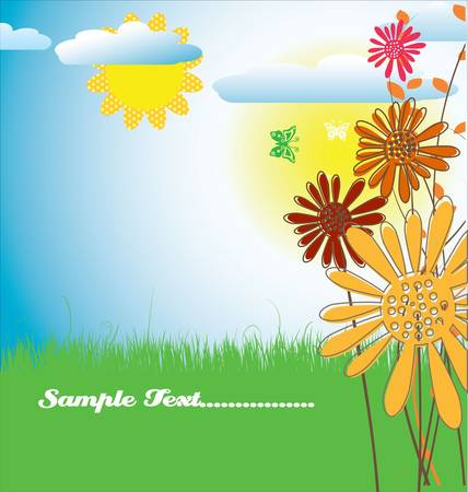 birthday wishes: Cute spring background Illustration