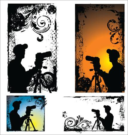 Grunge vector Photographers silhouette set Vector