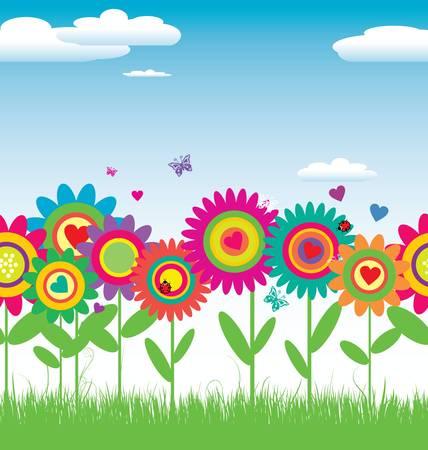Seamless Floral illustration vectorielle carte Banque d'images - 13357007