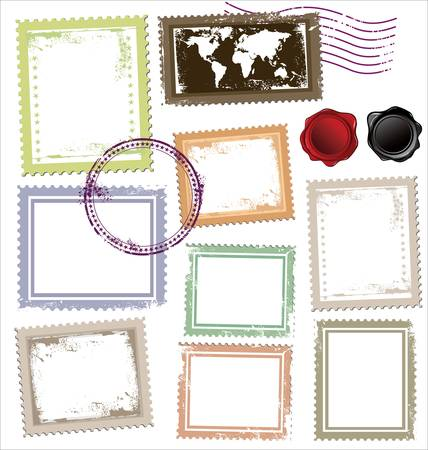 Vintage post stamps template