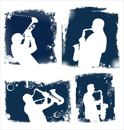 musician silhouette: music background