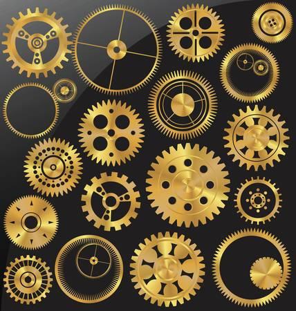 Gold gear set Stock Vector - 13530218
