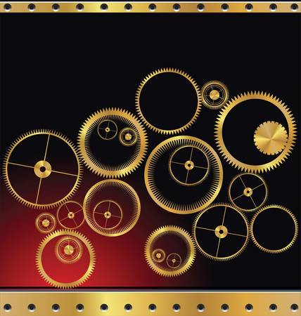 gears background: abstract gold gears background