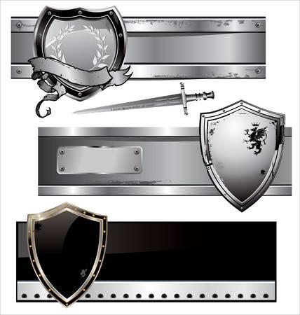 shield banner set Vector