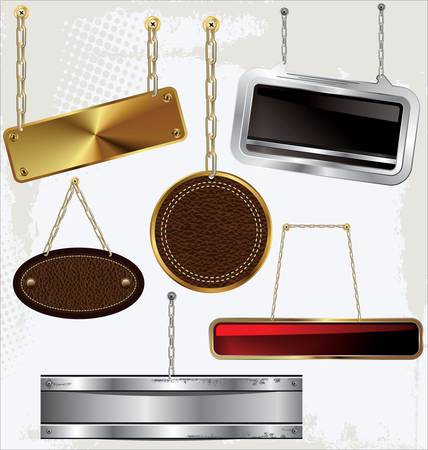 Signs and labels on gold and silver chain Vector