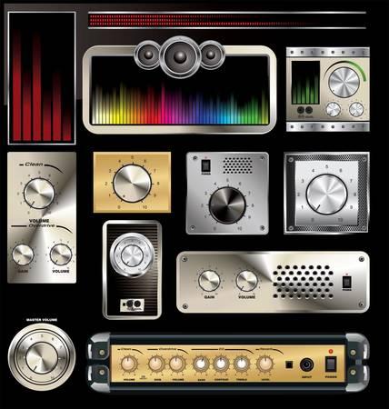 panel de control: Panel de control con control de volumen y un ecualizador Vectores