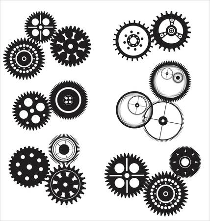 gear and cogwheel set isolated on white  Vector