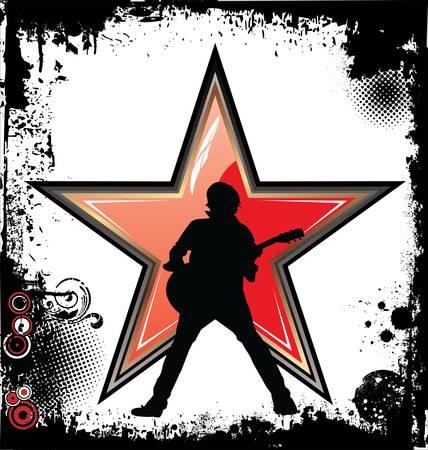 idool: Rock star grunge achtergrond Stock Illustratie