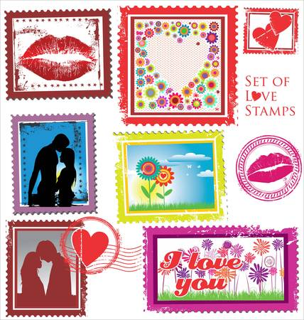 Set of Love Stamps Vector