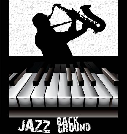 hands on keyboard: Jazz background Illustration