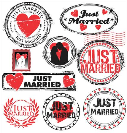 honeymoon: Just married stamps