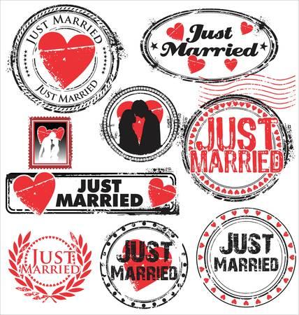 honeymoon: Just married stamps
