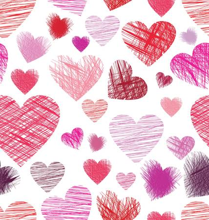 Seamless background with sketchy hearts Vector