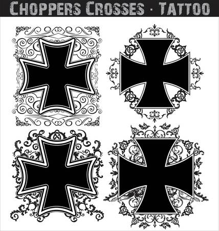 Choppers crosses tattoo Stock Vector - 13654251