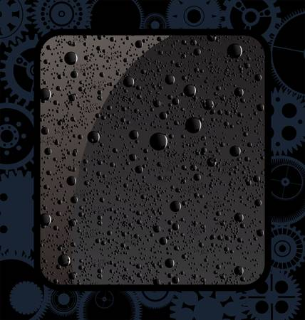 dewdrops: Abstract gear background with black water drops Illustration