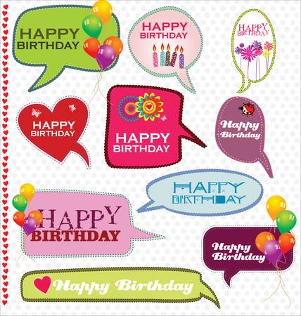 cute text box: Speech bubbles retro design - Happy Birthday