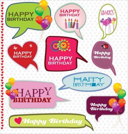 message box: Speech bubbles retro design - Happy Birthday