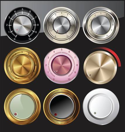 Control knobs in different colors Vector