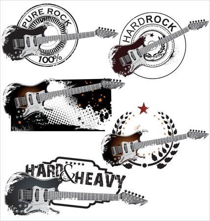 guitarra: Grunge sello de goma con la guitarra el�ctrica Vectores