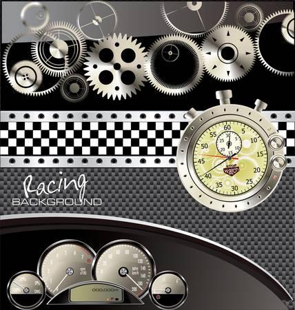 drag race: Carreras de fondo de la vendimia con tac�metro de velocidad Vectores