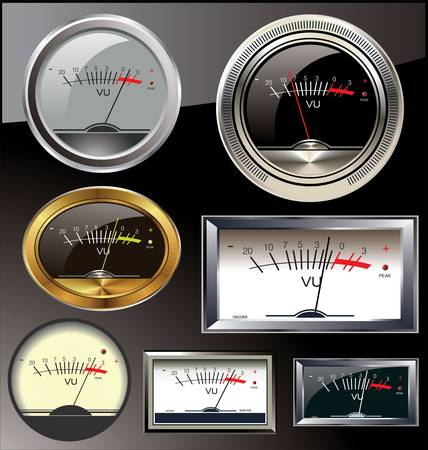 detect: Set of 6 different vu meters Illustration