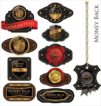 gold seal: Money back Leather vintage LABELS set Illustration