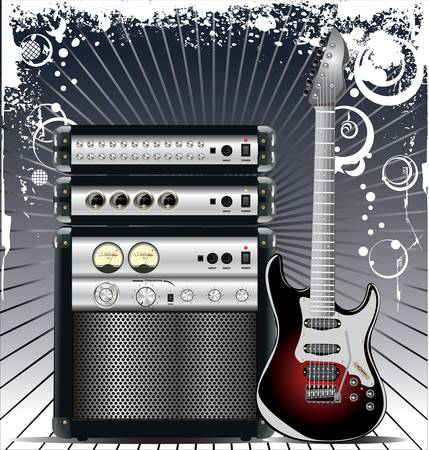 Guitar Combo music background Stock Vector - 13815437