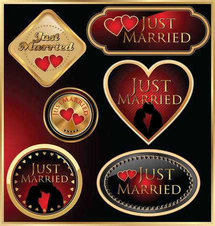 Just married golden labels Vector