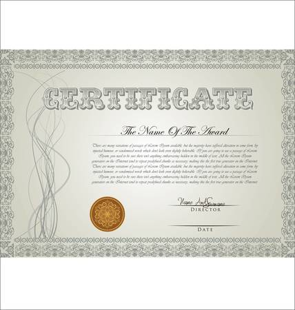 stock certificate: Vector illustration of detailed certificate Illustration