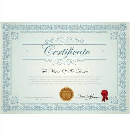 certificado: Ilustraci�n vectorial de certificado detallado