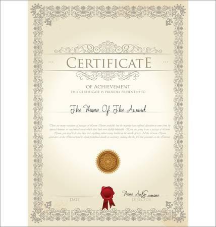Vector illustration d'un certificat d'or détaillée Banque d'images - 13895980