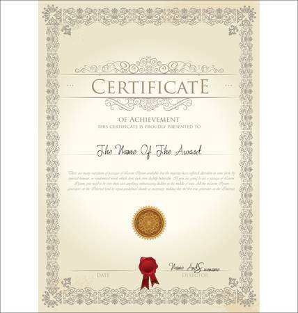 diploma border: Vector illustration of detailed gold certificate