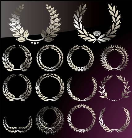 silver medal: Laurel Wreath set Illustration