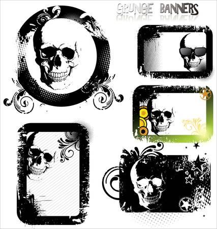 Skull grunge banner - set