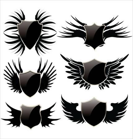 silueta moto: Escudo negro con alas Vectores