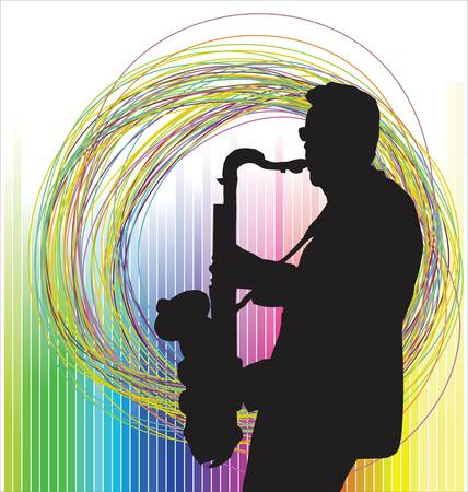 saxophone: Jazz musician colorful background Illustration